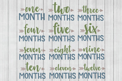 Monthly SVG, Baby Months SVG, DXF File, Cuttable File