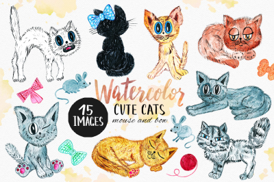 Watercolor Cute Cats Clipart