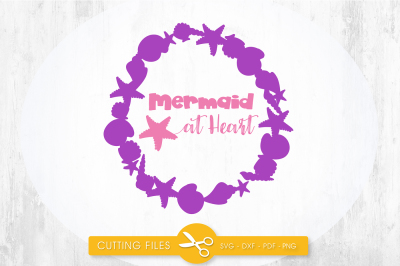 Mermaid at heart wreath SVG, PNG, EPS, DXF, cut file