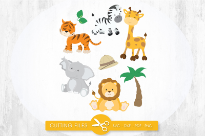 Safari animals SVG, PNG, EPS, DXF, cut file