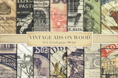 Vintage adverts on wood