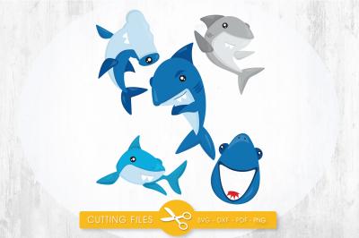 Sharks SVG, PNG, EPS, DXF, cut file