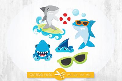 Summer sharks SVG, PNG, EPS, DXF, cut file