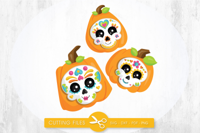 Sugar skull pumpkins SVG, PNG, EPS, DXF, cut file