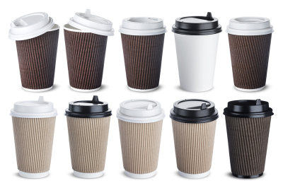 Different paper coffee cup isolated on white background. Mock up