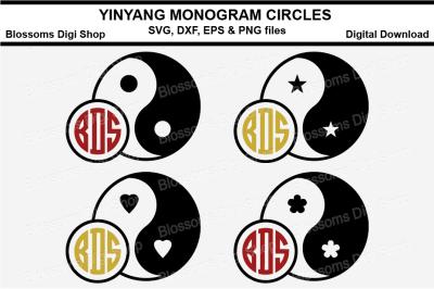 Yingyang Monogram circles, SVg, DXF, EPS & PNG files