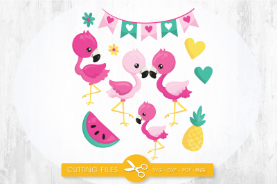 Tropical flamingos SVG, PNG, EPS, DXF, cut file