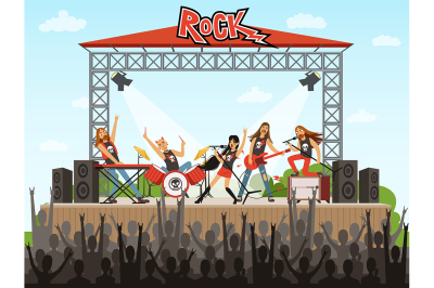 Rock band on stage. People on concert. Music performance