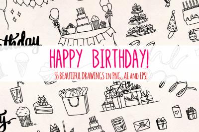 55 Birthday Party Vector Sketches
