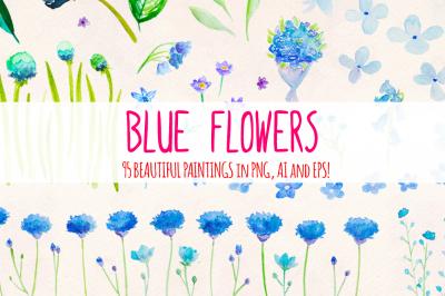 95 Blue Flower Watercolor Elements