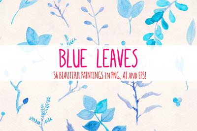 Delicate Blue Leaves 36 Watercolors
