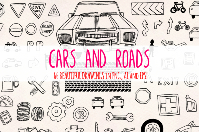 66 Cars and Road Transport Sketch Graphics