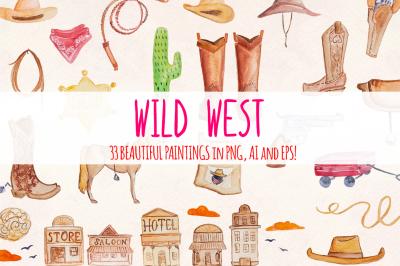 Wild West 33 Cowboy Watercolour Kit