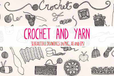 33 Crochet and Yarn Sketch Graphics