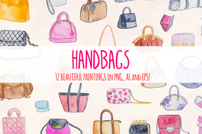 32 Womens Handbags Purses Watercolor Vector Graphics