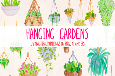 26 Hanging Plants Garden Watercolor Vector Elements