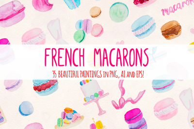 35 Pretty French Macarons Watercolor Vector Kit