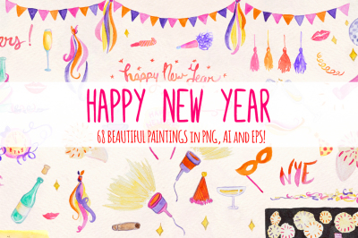 68 New Year's Eve Watercolor Vector Graphics Kit