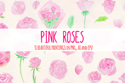 31 Pink Roses Watercolor Graphics Vector Kit
