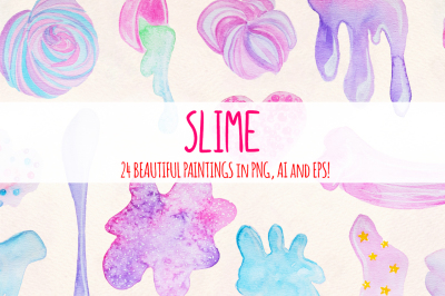 24 Fluffy Crunchy Slime Watercolor Vector Clip Art
