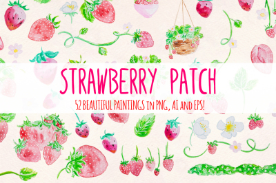 Strawberry Patch 52 Cute Watercolor Paintings  Clip Art