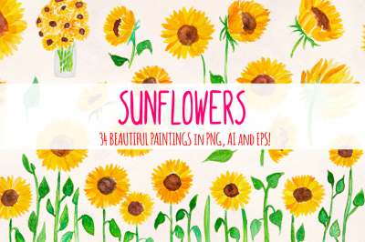 Bright Sunflowers 34 Sunny Vector Watercolor Graphics