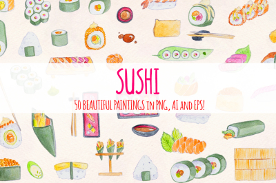 Sushi Train 50 Watercolour Vector Graphics