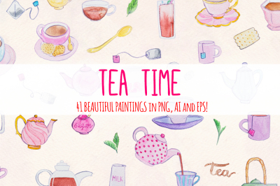 Afternoon Tea Time 41 Watercolor Vector Graphics
