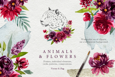 Animals and watercolor flowers