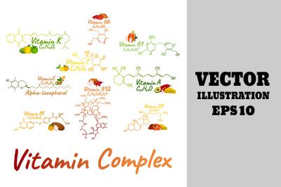 Vitamin Complex Labels &2B; Food Icon.