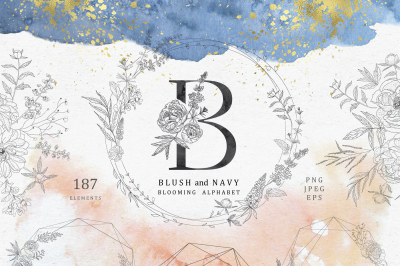 Blush and navy. Blooming alphabet.