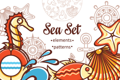 Sea life. Seamless pattern and elements.Maritime icon.