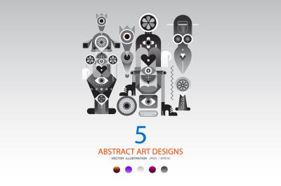 5 options of a Modern Abstract Art design