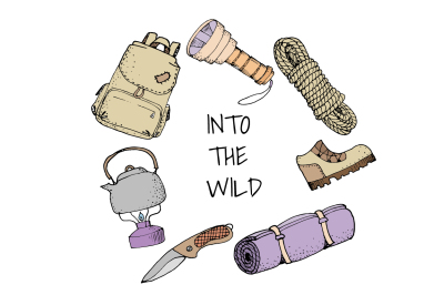Hand drawn camping tools