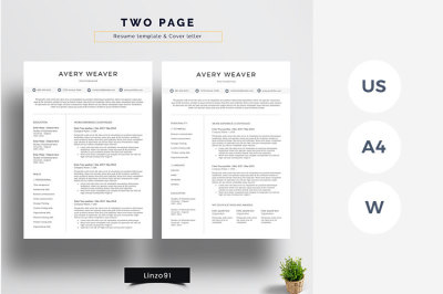 Minimal and Professional resume/CV template for word | Two pages resum