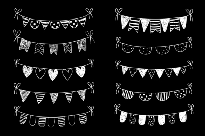 Chalkboard bunting clipart, White doodle flags clip art, Doodle banner