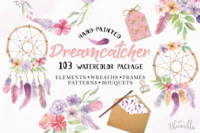Dreamcatcher Watercolor 103 Piece Package Patterns Wreaths Feathers