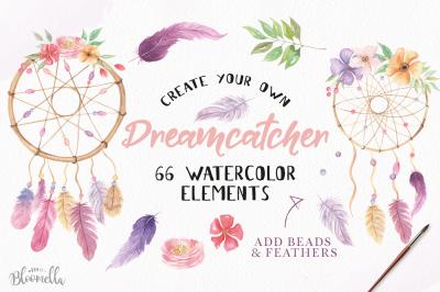 Dreamcatcher Creatpr - Creat your own DIY Watercolor Florals Boho Set