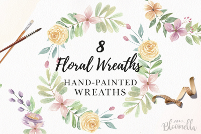 Watercolor Floral Wreaths Hand Painted Pink Purple Set