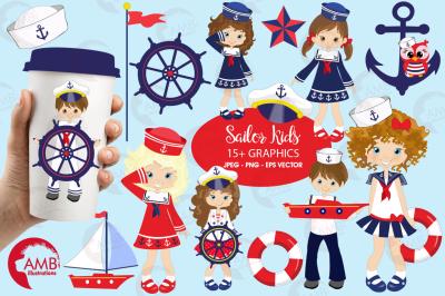 Sailor Kids Cliparts, Nautical Kids Clipart AMB-893