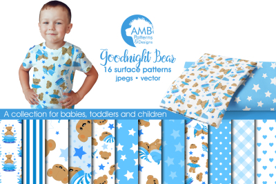 Blue Bear Patterns, Bear Papers, AMB-985