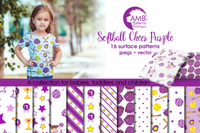 Softball Purple Surface Patterns, Softball Papers, AMB-962