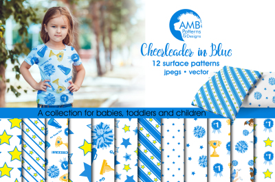 Cheerleader Surface Patterns in Blue, Cheerleader Papers, AMB-887