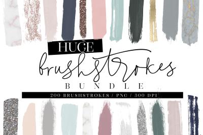200 Watercolor Brushstrokes BUNDLE