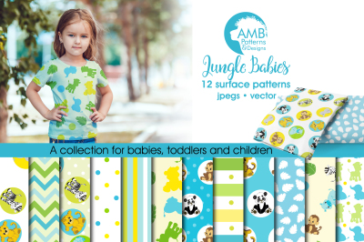 Jungle Babies Surface Patterns, Jungle Papers, AMB-599