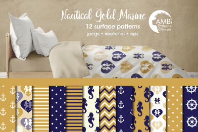 Gold and Navy Nautical Surface Patterns, Gold and Navy Papers, AMB-563