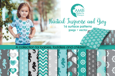 Teal and Gray Nautical Surface Patterns, Teal and Gray Papers, AMB-562
