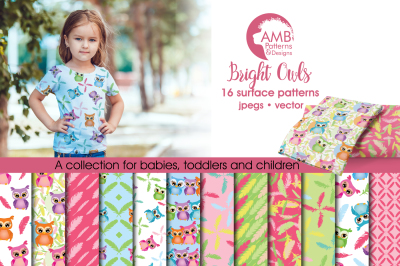 Bright Owls Surface Patterns, Feather and Owl Papers, AMB-453
