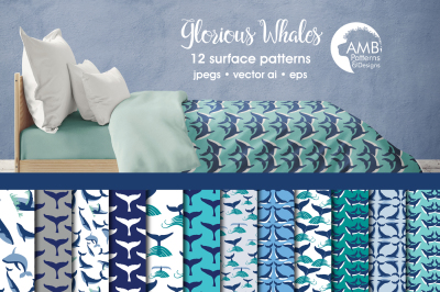 Glorious Whales Surface Patterns, Whale Tail Papers, AMB-399