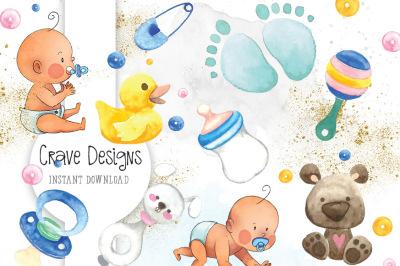 Baby Watercolor Clip Art